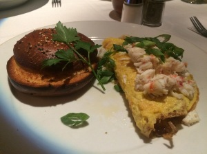 Alaskan crab omelette with a sea salt and sesame bagel